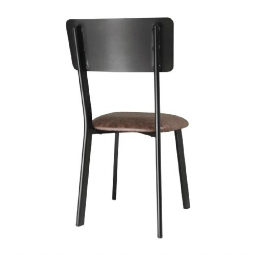 Bolero Metal & PU Side Chair Vintage Mocha (Pack of 4) - DR301